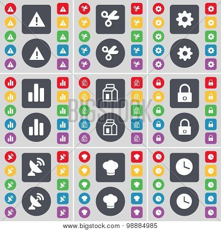 Warning, Scissors, Gear, Diagram, Packing, Lock, Satellite Dish, Cooking Hat, Clock Icon Symbol. A L