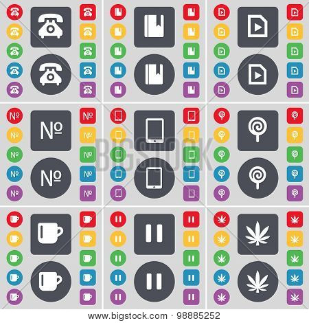 Retro Phone, Dictionary, Media File, Number, Tablet Pc, Lollipop, Cup, Pause, Marijuana Icon Symbol.