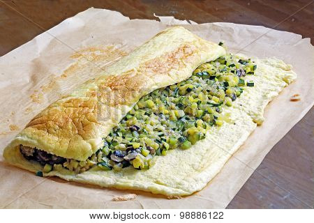 Omelette Roll With Zucchini And Vegetable Filling