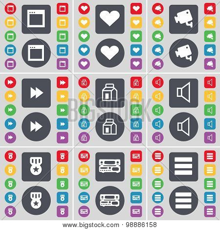 Window, Heart, Cctv, Rewind, Packing, Sound, Medal, Record-player, Apps Icon Symbol. A Large Set Of