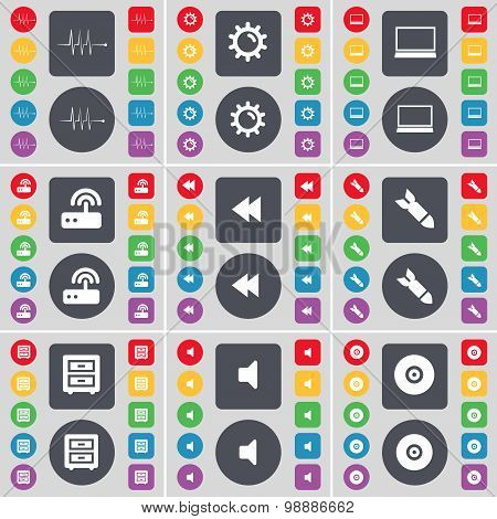 Pulse, Gear, Laptop, Router, Rewind, Rocket, Bed-table, Sound, Disk Icon Symbol. A Large Set Of Flat