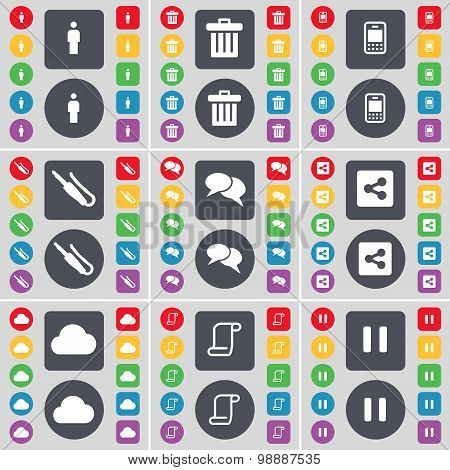 Silhouette, Trash Can, Mobile Phone, Microphone Connector, Chat, Share, Cloud, Scroll, Pause Icon Sy