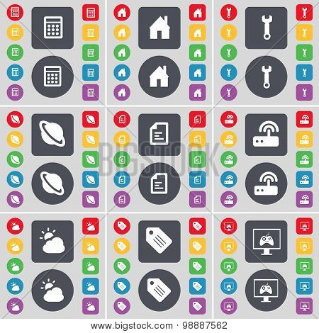 Calculator, House, Wrench, Planet, Text File, Router, Cloud, Tag, Monitor Icon Symbol. A Large Set O