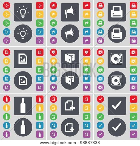 Light Bulb, Megaphone, Printer, Media File, Wallet, Gramophone, Bottle, File, Tick Icon Symbol. A La