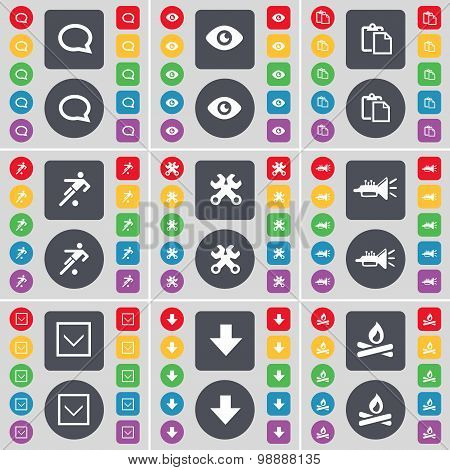 Chat Bubble, Vision, Survey, Football, Wrench, Trumped, Arrow Down, Campfire Icon Symbol. A Large Se