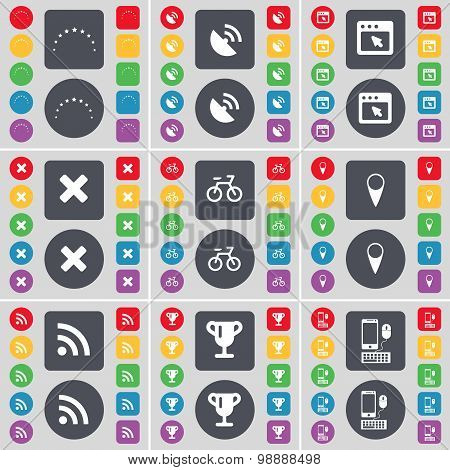 Stars, Satellite Dish, Window, Stop, Bicycle, Checkpoint, Rss, Cup, Smartphone Icon Symbol. A Large