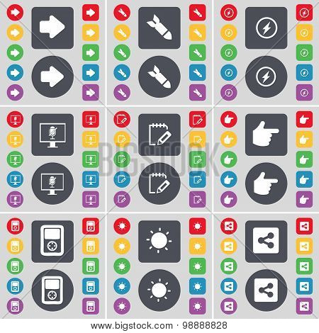 Arrow Right, Rocket, Flash, Monitor, Survey, Hand, Player, Light, Share Icon Symbol. A Large Set Of