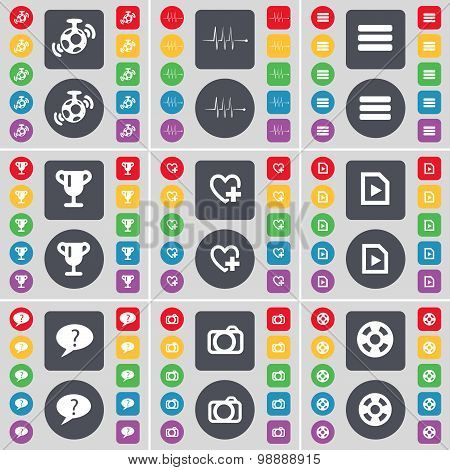 Speaker, Pulse, Apps, Cup, Heart, File, Chat Bubble, Camera, Videotape Icon Symbol. A Large Set Of F