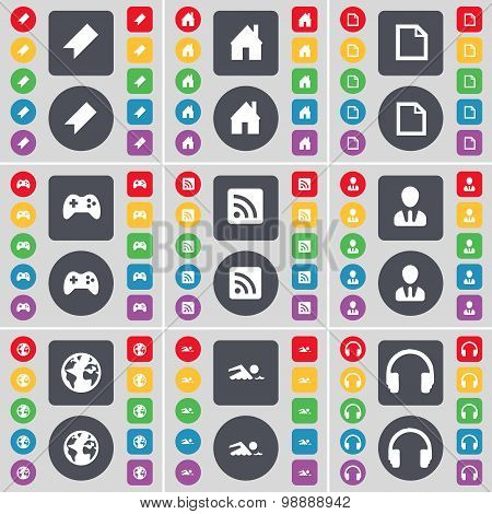 Marker, House, File, Gamepad, Rss, Avatar, Globe, Swimmer, Headphones Icon Symbol. A Large Set Of Fl
