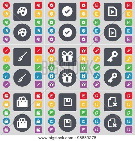 Palette, Tick, File, Brush, Gift, Key, Shopping Bag, Floppy Icon Symbol. A Large Set Of Flat, Colore