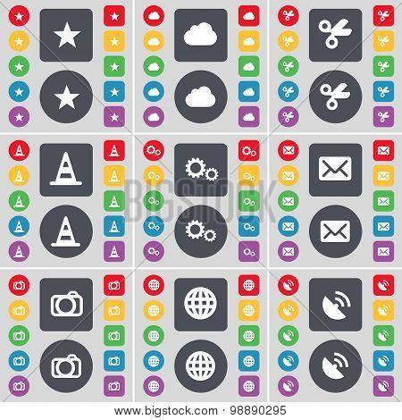 Star, Cloud, Scissors, Cone, Gear, Message, Camera, Globe, Satellite Dish Icon Symbol. A Large Set O