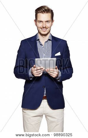 Handsome Man Using Digital Tablet