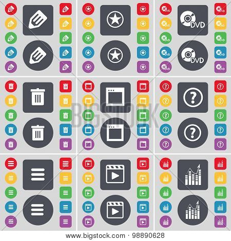 Pencil, Star, Dvd, Trash Can, Window, Question Mark, Apps, Media Play, Graph Icon Symbol. A Large Se