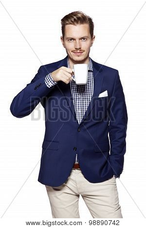 Businessman Man With Coffee Looking At Camera