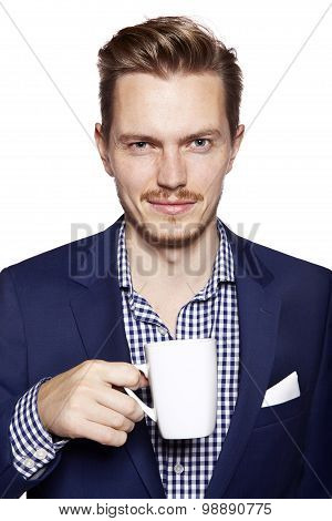 Handsome Man With Coffee Looking At Camera