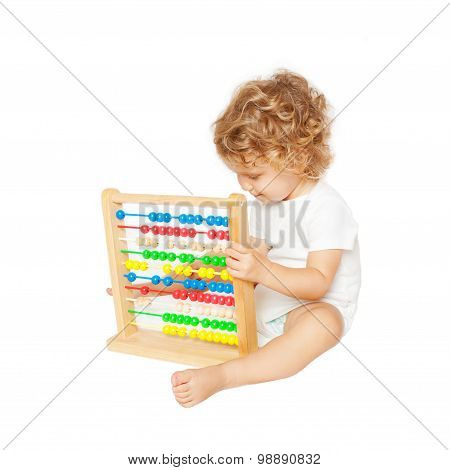 Smiling Baby Playing With Abacus.