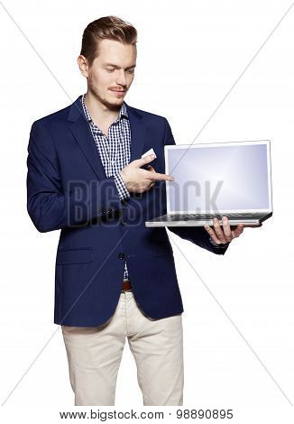 Businessman Is Showing Something On A Computer