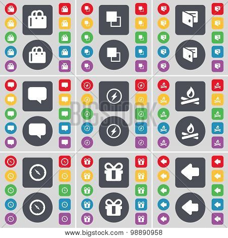 Shopping Bag, Copy, Wallet, Chat Bubble, Flash, Campfire, Compass, Gift, Arrow Left Icon Symbol. A L