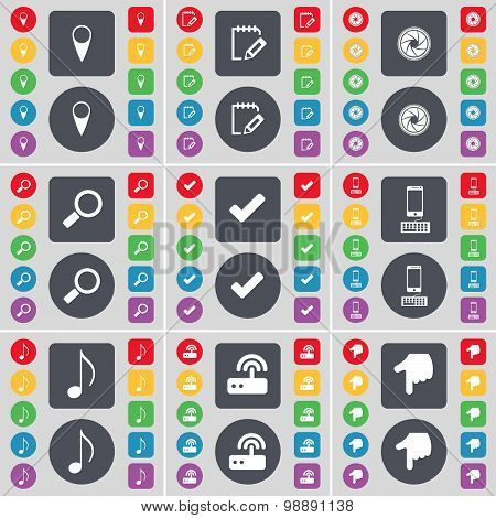 Checkpoint, Survey, Lens, Magnifying Glass, Tick, Smartphone, Note, Router, Hand Icon Symbol. A Larg
