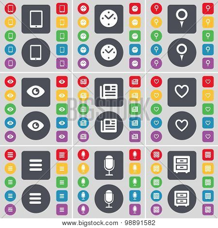 Tablet Pc, Clock, Checkpoint, Vision, Newspaper, Heart, Apps, Microphone, Bed-table Icon Symbol. A L