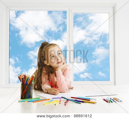 Child Drawing Pencils Dreaming Window, Creative Girl Thinking Inspiring Kid Looking Up, Education