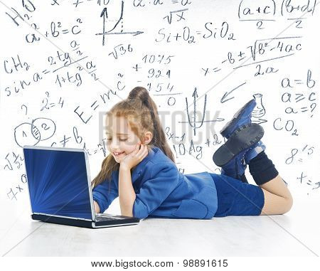 Child Looking At Laptop, Kid With Computer, Little Girl And Notebook, Mathematics Formula, School