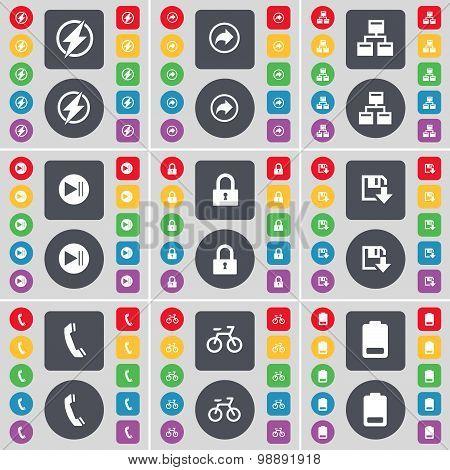 Flash, Back, Network, Media Skip, Lock, Floppy, Receiver, Bicycling, Battery Icon Symbol. A Large Se