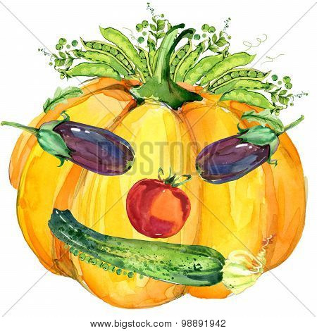 Label funny face vegetables. Assorted raw organic vegetables. watercolor illustration. watercolor ve