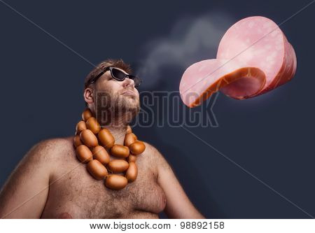 Man dreaming about sausages