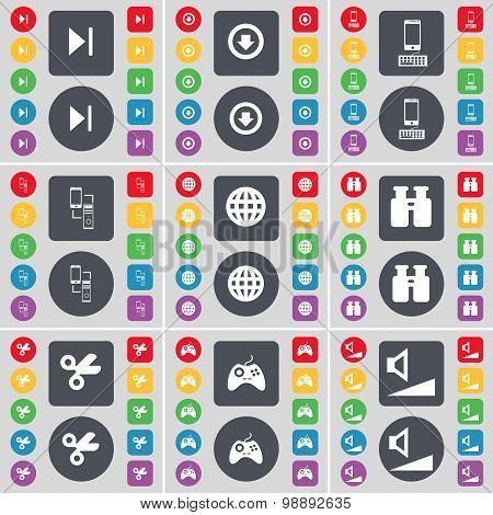 Media Skip, Arrow Down, Smartphone, Connection, Globe, Binoculars, Scissors, Gamepad, Volume Icon Sy