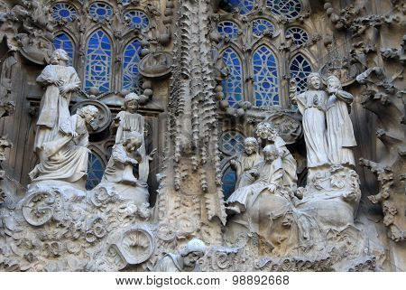 Nativity Fa?ade Of Sagrada Familia Temple, Barcelona,catalonia, Spain