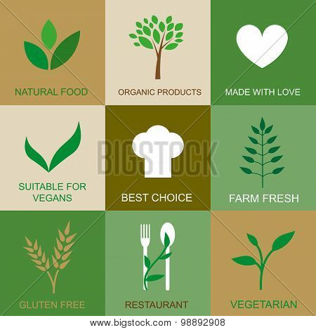 Flat Icons For Organic Products.