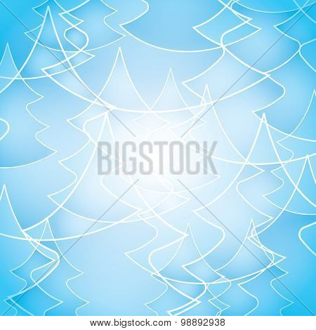 Transparent Pine Tree Outline Pattern for Christmas Card, Winter Holiday Template