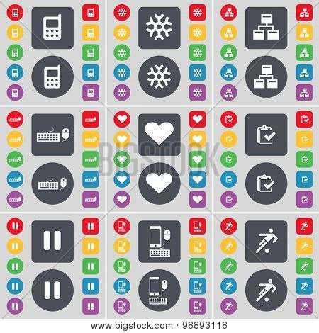 Mobile Phone, Snowflake, Network, Keyboard, Heart, Survey,  Pause, Smartphone, Football Icon Symbol.