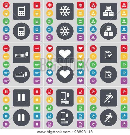 Mobile Phone, Snowflake, Network, Keyboard, Heart, Survey,  Pause, Smartphone, Football Icon Symbol.