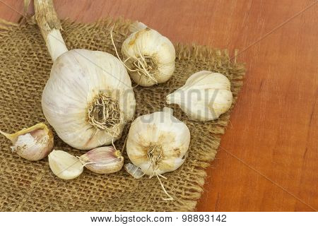 Homemade garlic grown in the garden. Traditional medicine against colds and flu.