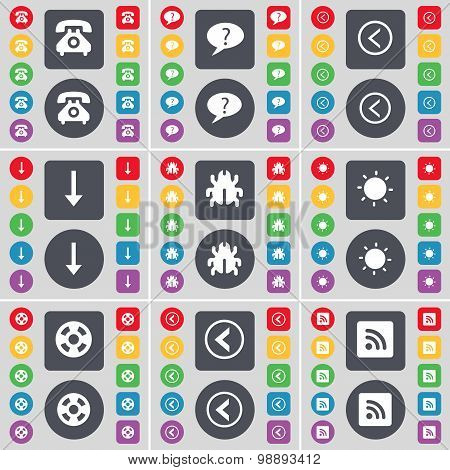 Retro Phone, Chat Bubble, Arrow Left, Arrow Down, Bug, Light, Videotape, Arrow Left, Rss Icon Symbol
