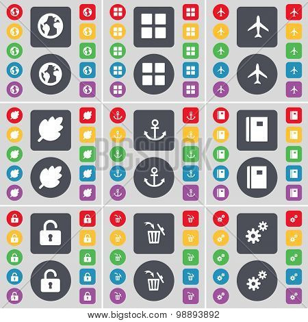 Earth, Apps, Airplane, Leaf, Anchor, Notebook, Lock, Trash Can, Gear Icon Symbol. A Large Set Of Fla