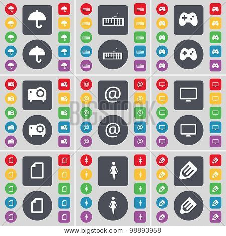 Umbrella, Keyboard, Gamepad, Projector, Mail, Monitor, File, Silhouette, Pencil Icon Symbol. A Large