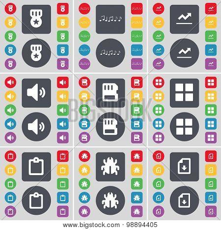 Media, Note, Graph, Sound, Sim Card, Apps, Survey, Bug, File Icon Symbol. A Large Set Of Flat, Color