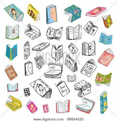 Colorful Open Books Drawing Library Big Collection in Black Lines and Colored