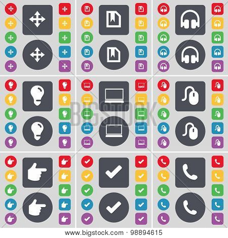 Moving, File, Headphones, Light Bulb, Laptop, Mouse, Hand, Tick, Receiver Icon Symbol. A Large Set O