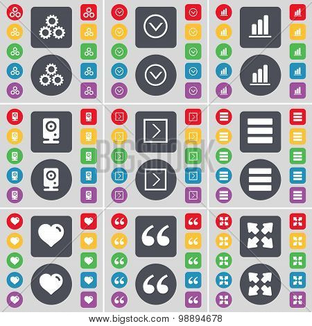 Gear, Arrow Down, Diagram, Speaker, Arrow Right, Apps, Heart, Quotation Mark, Full Screen Icon Symbo