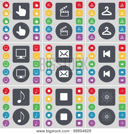 Hand, Clapper, Hager, Monitor, Message, Media Skip, Note, Media Stop, Star Icon Symbol. A Large Set