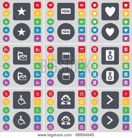 Star, New, Heart, Sms, Calendar, Speaker, Disabled Person, Avatar, Arrow Right Icon Symbol. A Large