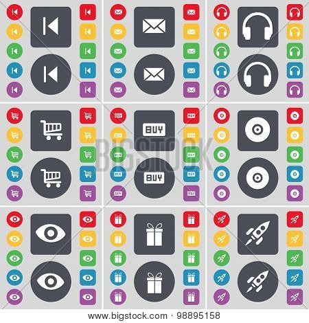 Media Skip, Message, Headphones, Shopping Cart, Buy, Disk, Vision, Gift, Rocket Icon Symbol. A Large