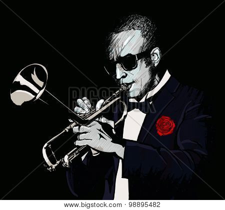 Trumpet player - vector illustration