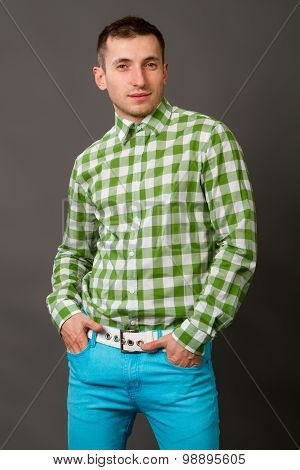 Young Guy In A Checkered Shirt