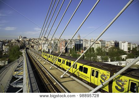 Istanbul Subway Metro Train Passing From The Golden Horn Metro