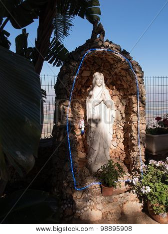 The Statue Of Mary Near The Monastery Muhraqa On Mount Carmel, In The Place Of The Prophet Elijah Fi